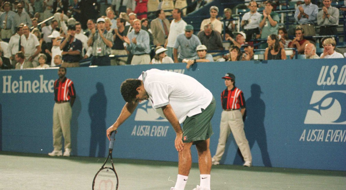 5 Sep 1996: Pete Sampras takes a second during his match with Alex Corretja of Spain at the US Open in Flushing Meadows, New York.